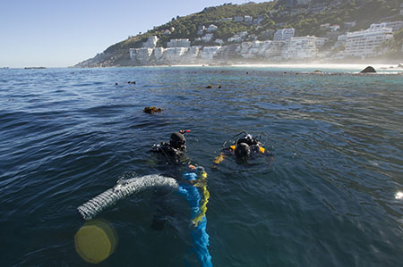 Divers on the site of the São José slave ship wreck.